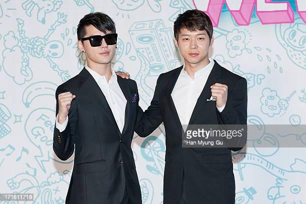 Kim JunSu and Park YooChun of South Korean boy band JYJ attend the 2013 JYJ Membership Week at SETEC on June 27 2013 in Seoul South Korea Membership...