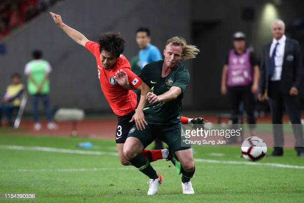 Kim Junsu of South Korea and Rhyan Grant of Australia compete for the ball during the international friendly match between South Korea and Australia...