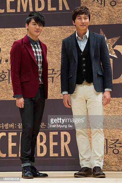 Kim JunSu of South Korean boy band JYJ and actor Park GunHyung pose for media at musical December at Sejong Center For The Performing Arts on October...