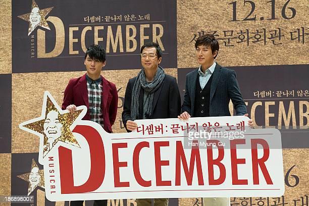Kim JunSu of South Korean boy band JYJ producer Jang Jin and actor Park GunHyung pose for media at musical December at Sejong Art Center on October...