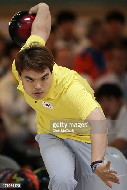 Kim Junyung of Korea bowls against Goh Muhammad Jaris Bin Ali Ak of Singapore during the Men's Singles Bowling quarter-final at Anyang Hogye...