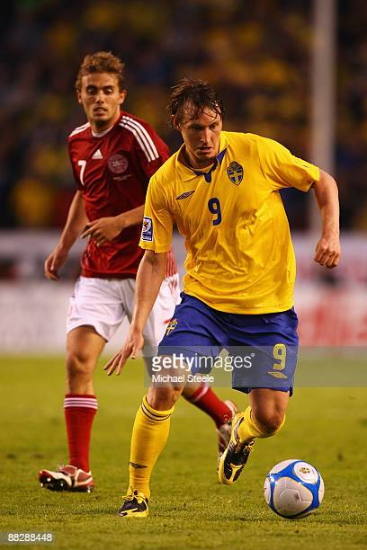 Kim Kallstrom of Sweden during the FIFA2010 World Cup Qualifying Group 1 match between Sweden and Denmark at the Rasunda Stadium on June 6, 2009 in...