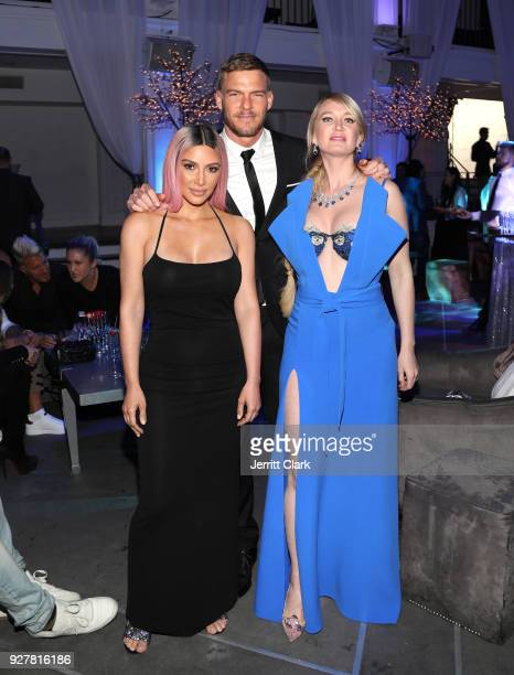 Kim Kardashian Alan Ritchson and Marina Acton attend the release of Marina Acton's new single Fantasize at Boulevard3 on March 5 2018 in Hollywood...