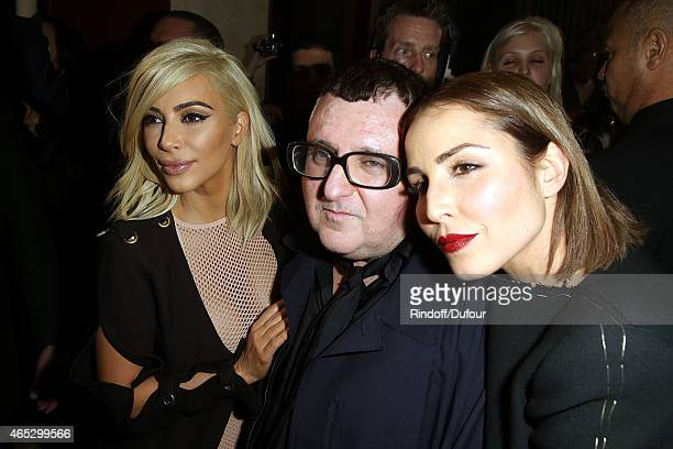 Kim Kardashian Alber Elbaz and Noomi Rapace pose after the Lanvin show as part of the Paris Fashion Week Womenswear Fall/Winter 2015/2016 on March 5...