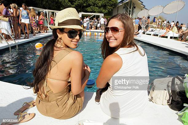 Kim Kardashian and Ali Sims during McDonald's Big Mac 40th Birthday Party at Project Beach House in Malibu CA on July 27 2008