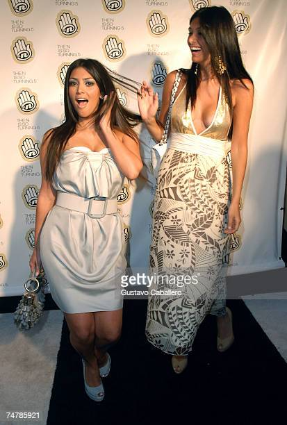 Kim Kardashian and Brittny Gastineau pose at the Celebration of The Ns 5th Anniversary at Marquee June 18 2007 in New York City