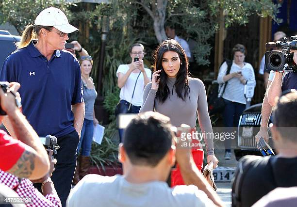 Kim Kardashian and Bruce Jenner are seen filming their reality show on October 20, 2014 in Los Angeles, California.
