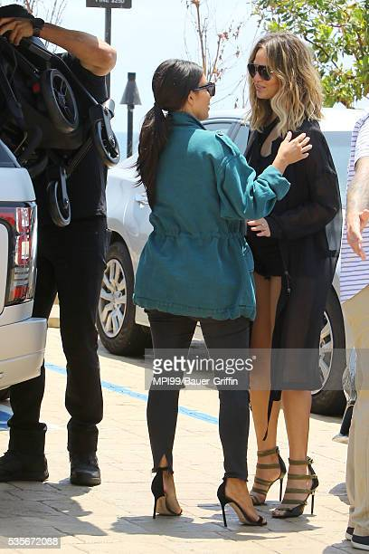 Kim Kardashian and Chrissy Teigen seen out to lunch at Nobu on May 29 2016 in Los Angeles California