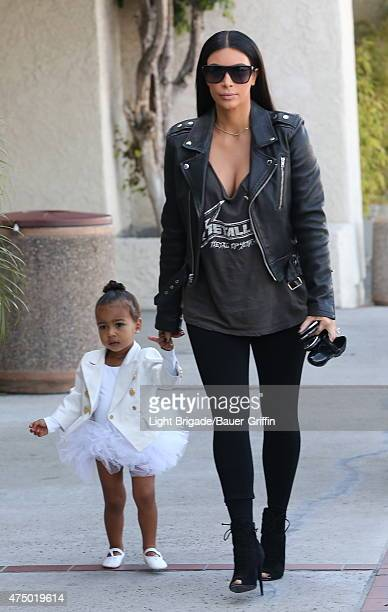 Kim Kardashian and daughter North West are seen in Woodland Hills Ca on May 28 2015 in Los Angeles California