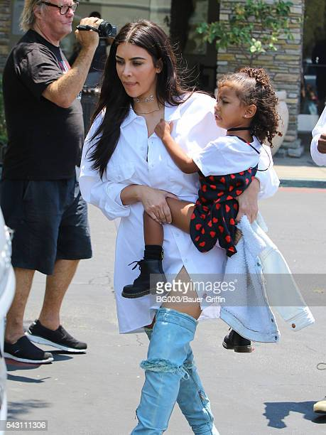 Kim Kardashian and daughter North West are seen on June 25 2016 in Los Angeles California