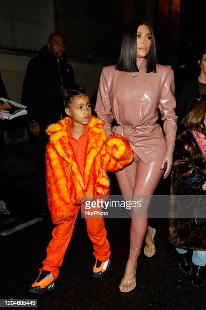 Kim Kardashian and daughter North West arrive at the Ferdi restaurant on March 01 2020 in Paris France