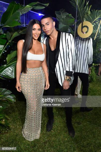 Kim Kardashian and designer Olivier Rousteing at BALMAIN celebrates first Los Angeles boutique opening and Beats by Dre collaboration on July 20 2017...