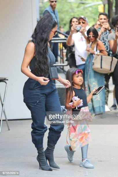 Kim Kardashian and her daughter North West are seen on June 15 2018 in New York City