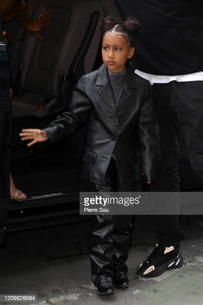 Kim Kardashian and her daughter North West arrive at Theatre des Bouffes du Nord to attend Kanye West's Sunday Service on March 01 2020 in Paris...