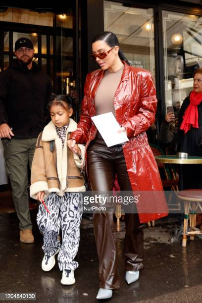 Kim Kardashian and her daughter North West pictured at the Cafe de Flore in Paris March 02 2020 in Paris France