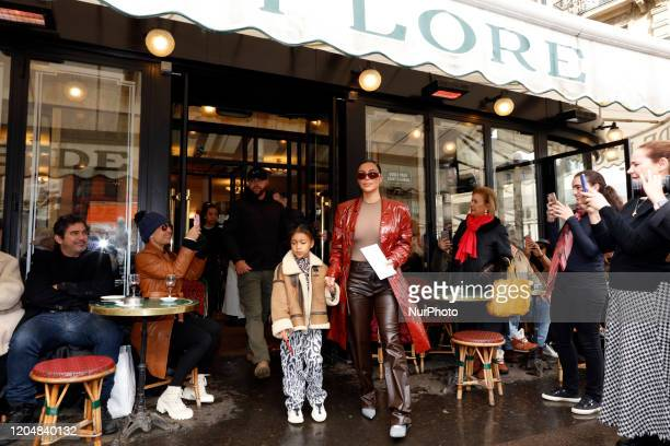 Kim Kardashian and her daughter North West pictured at the Cafe de Flore in Paris March 02, 2020 in Paris, France.