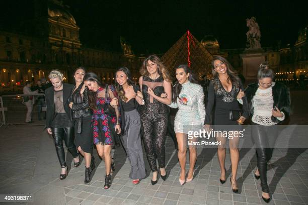 Kim Kardashian and her friends are seen in front of the Louvre museum on May 22 2014 in Paris France