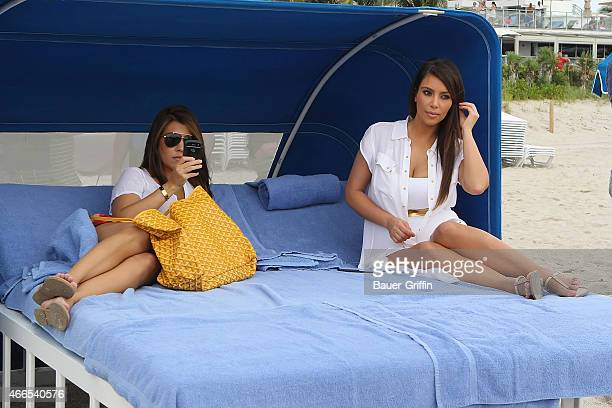 Kim Kardashian and her sister Kourtney Kardashian are seen filming scenes for 'Keeping Up with the Kardashians' on September 24 2012 in Miami Florida