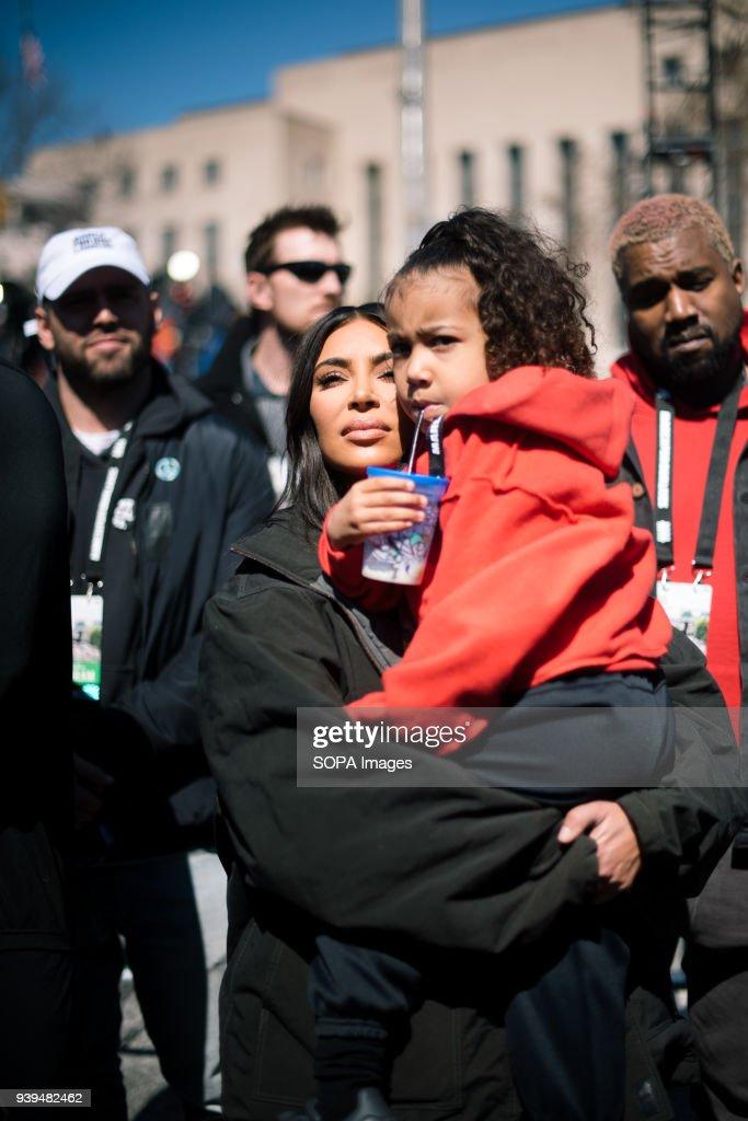 Kim Kardashian and Husband Kanye West along with Daughter... : News Photo