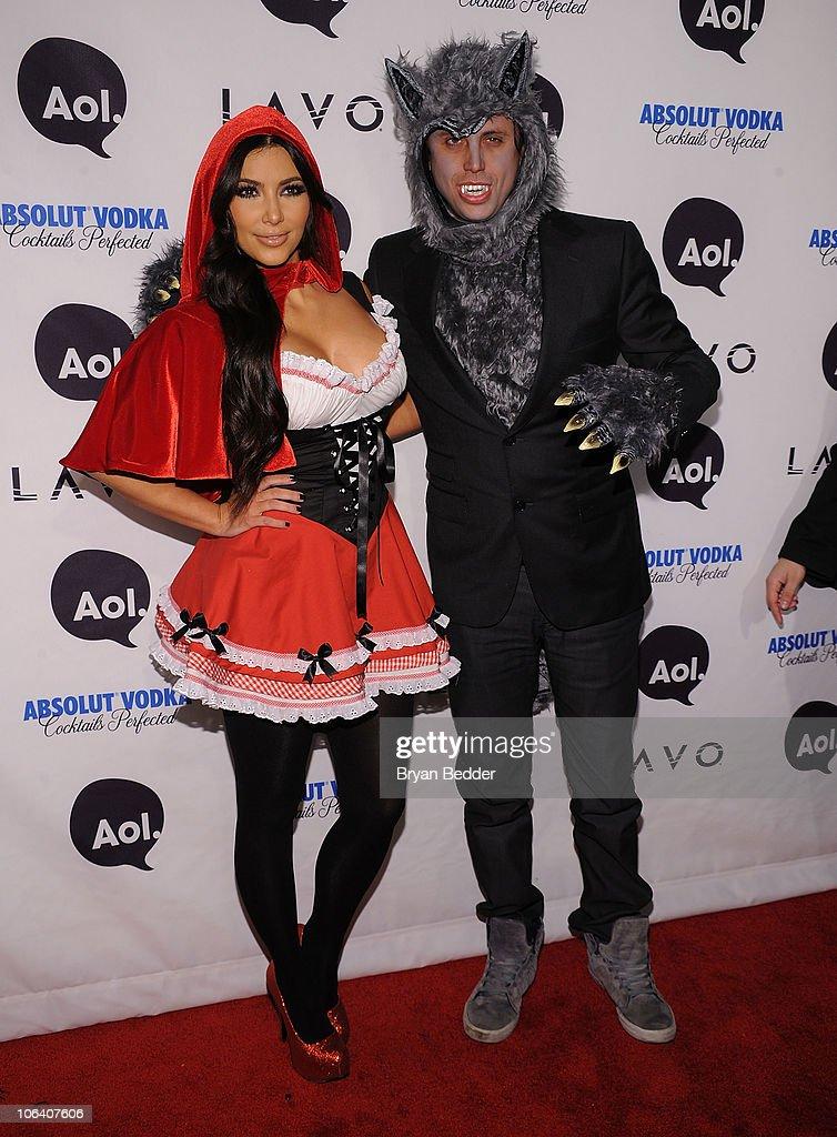 Kim Kardashian and Jonathan Cheban attend Heidi Klum's 2010 Halloween Party at Lavo on October 31, 2010 in New York City.