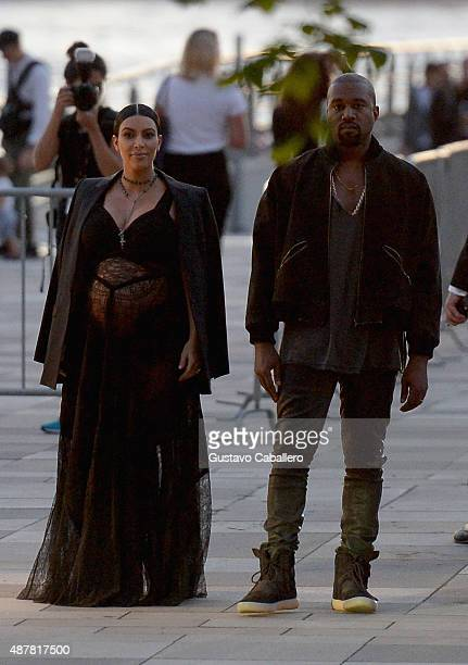 Kim Kardashian and Kanye West are seen around Spring 2016 New York Fashion Week The Shows Day 2 on September 11 2015 in New York City