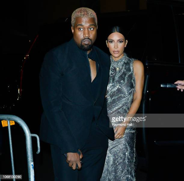 Kim Kardashian and Kanye West are seen arriving at The Cher Show on Broadway on December 4 2018 in New York City