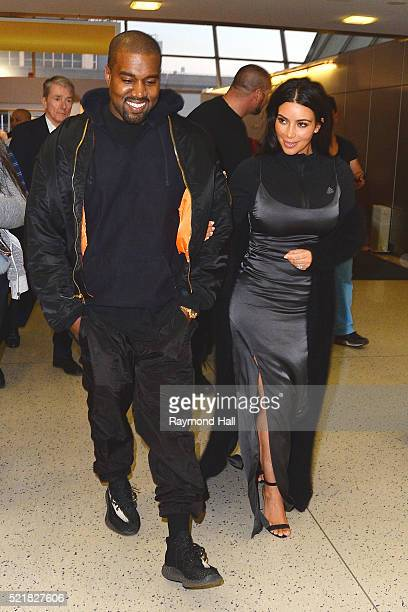 Kim Kardashian and Kanye West are seen at 'JFK Air Port'on April 16 2016 in New York City