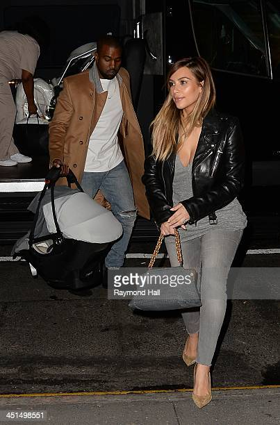 Kim Kardashian and Kanye West are seen in midtown manhattan on November 22 2013 in New York City