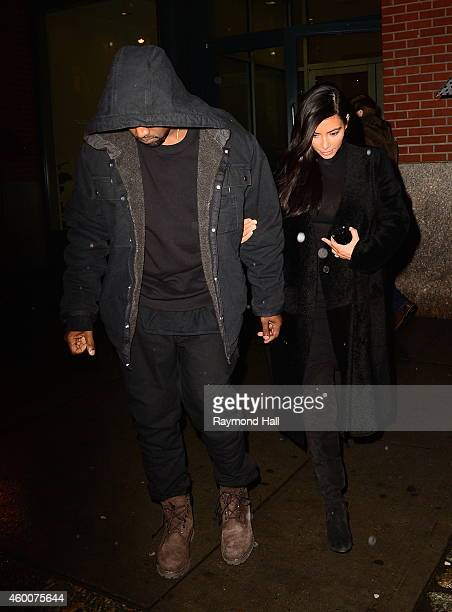 Kim Kardashian and Kanye west are seen in Soho on December 6 2014 in New York City