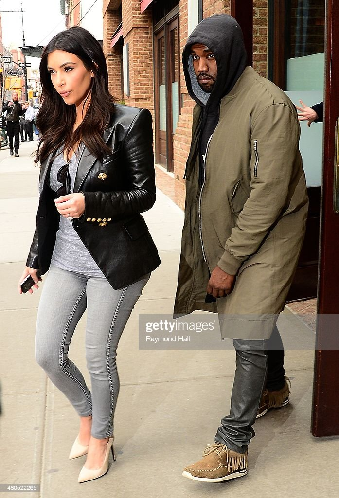 Kim Kardashian and Kanye West are seen in Soho on March 25, 2014 in New York City.