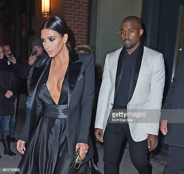 Kim Kardashian and Kanye West are seen on January 08 2015 in New York City