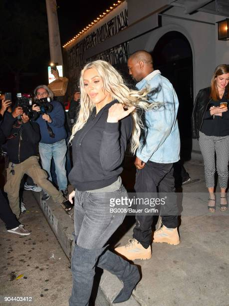 Kim Kardashian and Kanye West are seen on January 12 2018 in Los Angeles California