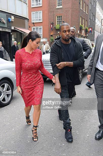 Kim Kardashian and Kanye West are seen on May 18 2012 in London United Kingdom