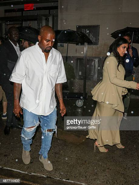 Kim Kardashian and Kanye West are seen on September 10 2015 in New York City