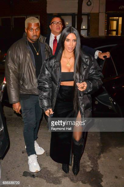 Kim Kardashian and Kanye West arrive at Carbone in Soho on February 14 2017 in New York City