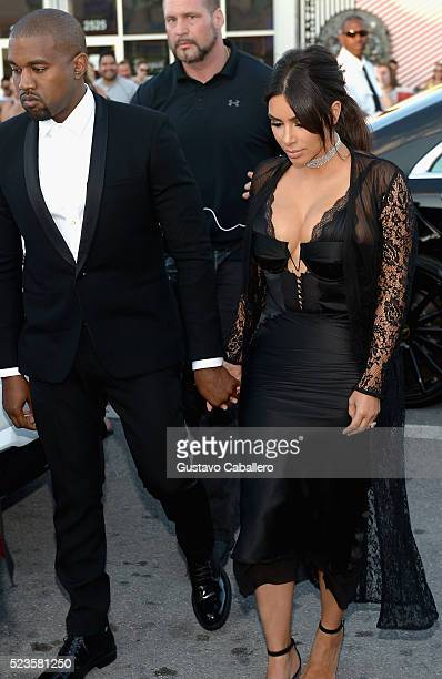 Kim Kardashian and Kanye West arrives at David Grutman's wedding on April 23 2016 in Miami Florida