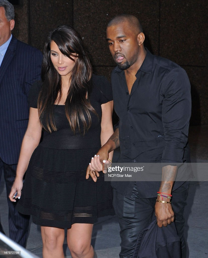 Kim Kardashian and Kanye West as seen on April 24, 2013 in New York City.