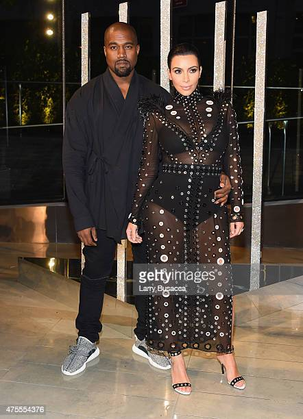 Kim Kardashian and Kanye West attend the 2015 CFDA Fashion Awards at Alice Tully Hall at Lincoln Center on June 1 2015 in New York City