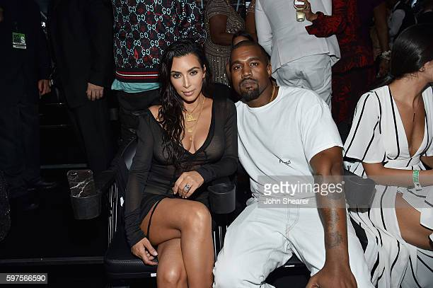 Kim Kardashian and Kanye West attend the 2016 MTV Music Video Awards at Madison Square Gareden on August 28 2016 in New York City
