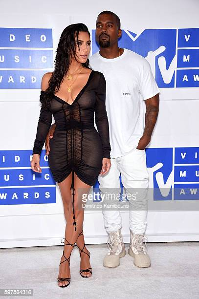 Kim Kardashian and Kanye West attend the 2016 MTV Video Music Awards at Madison Square Garden on August 28 2016 in New York City