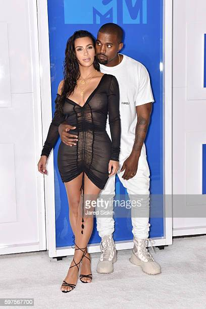 Kim Kardashian and Kanye West attend the 2016 MTV Video Music Awards Arrivals at Madison Square Garden on August 28 2016 in New York City
