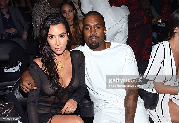 Kim Kardashian and Kanye West attend the 2016 MTV Video Music Awards on August 28 2016 in New York City