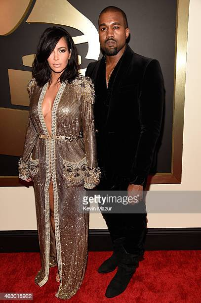 Kim Kardashian and Kanye West attend The 57th Annual GRAMMY Awards at the STAPLES Center on February 8, 2015 in Los Angeles, California.