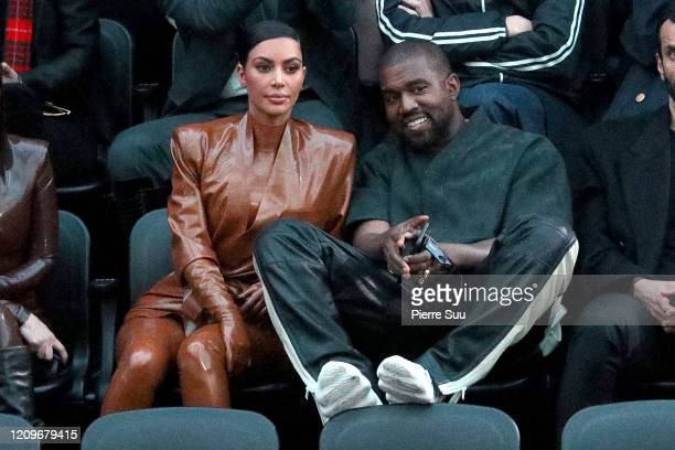 Kim Kardashian and Kanye West attend the Balenciaga show as part of the Paris Fashion Week Womenswear Fall/Winter 2020/2021 on March 01, 2020 in...