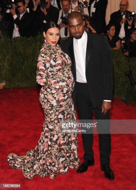 "Kim Kardashian and Kanye West attend the Costume Institute Gala for the ""PUNK: Chaos to Couture"" exhibition at the Metropolitan Museum of Art on May..."