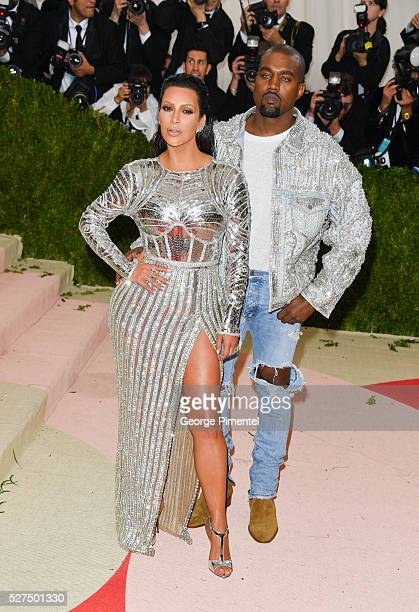 Kim Kardashian and Kanye West attend the 'Manus x Machina Fashion in an Age of Technology' Costume Institute Gala at the Metropolitan Museum of Art...