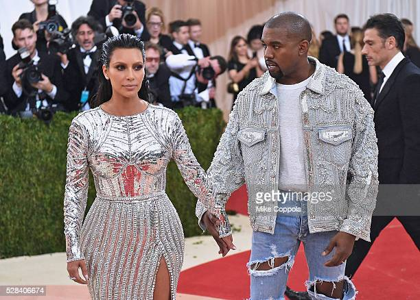 Kim Kardashian and Kanye West attend the 'Manus x Machina Fashion In An Age Of Technology' Costume Institute Gala at Metropolitan Museum of Art on...