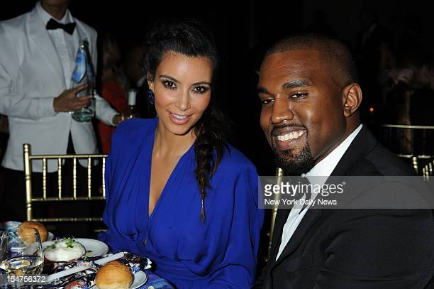 Kim Kardashian and Kanye West attending the Angel Ball 2012 cancer research benefit at Cipriani Wall Street