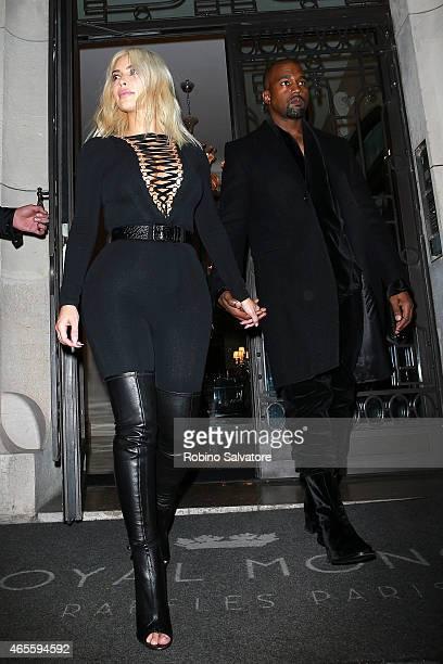 Kim Kardashian and Kanye West seen during Paris Fashion Week Autumn/Winter 2015 on March 8 2015 in Paris France