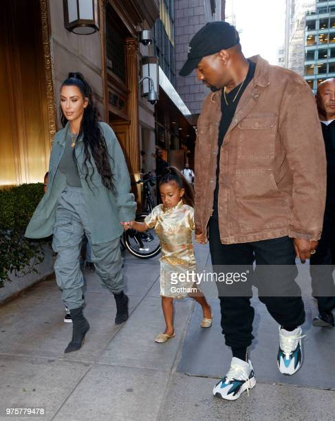 Kim Kardashian and Kanye West take North West to Polo Bar on June 15 2018 in New York City